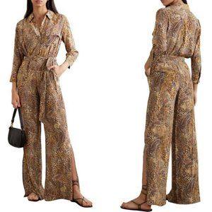 NEW L'Agence Camel Natural Wide Slit Leg Jumpsuit